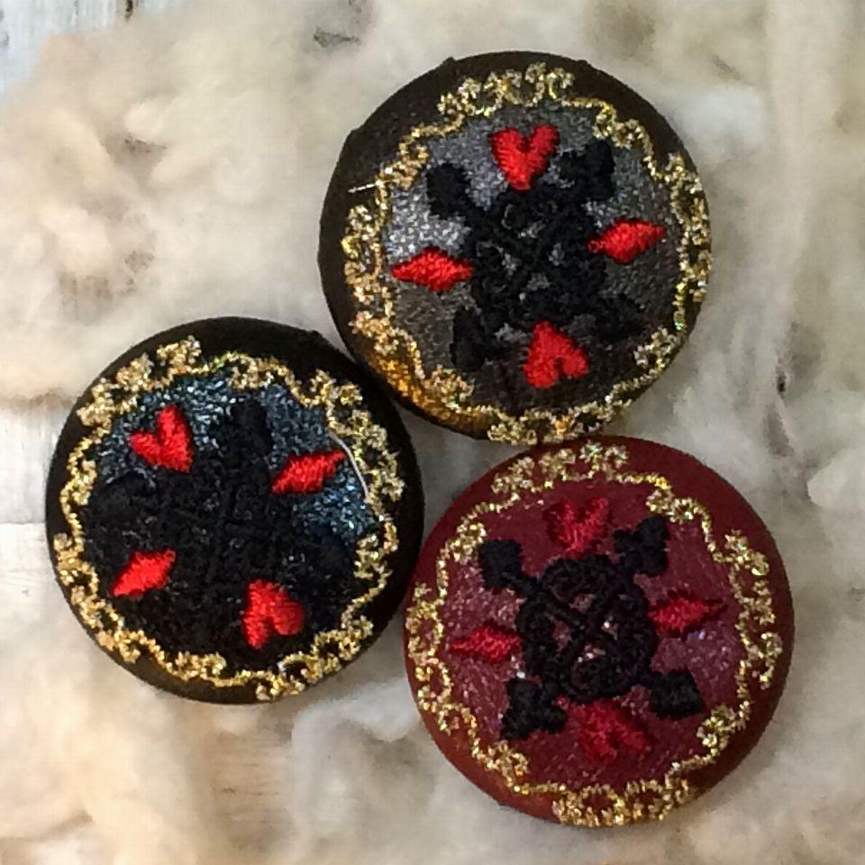 トランプレース[金]刺繡ボタン3種
