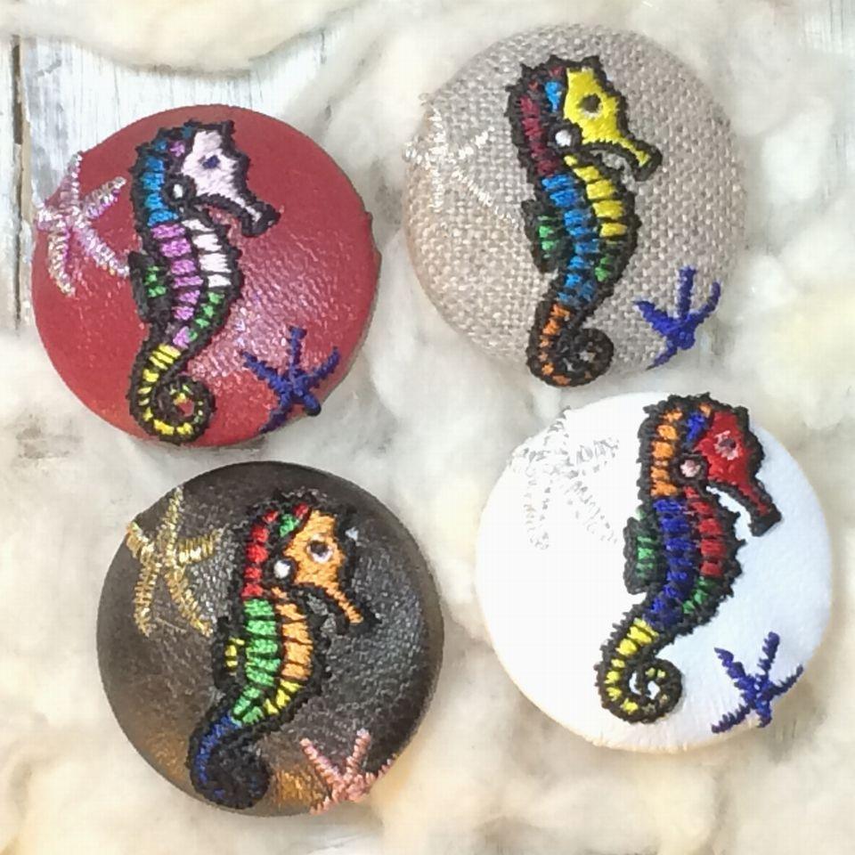 竜のオトシゴ&水玉刺繡ボタン4種