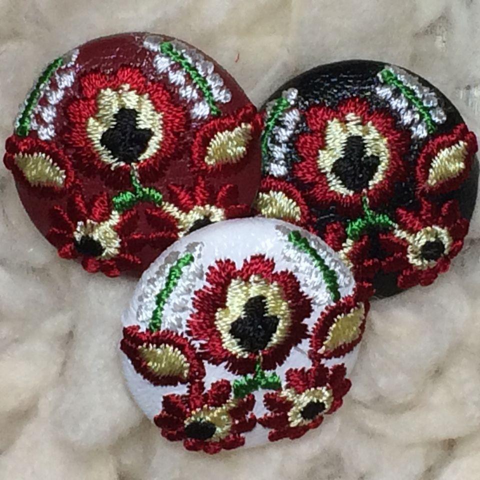 Hungary花と実[白]]刺繍ボタン/3種
