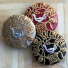 鳥カゴ金mix刺繍ボタン/3種