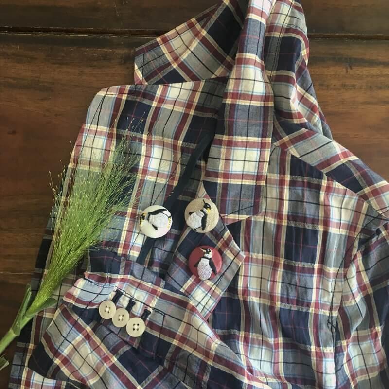 ペンギン29刺繍ボタンチェックジャケット