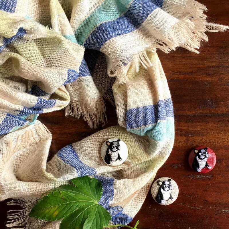 フレンチブルドック29刺繍ボタンストール