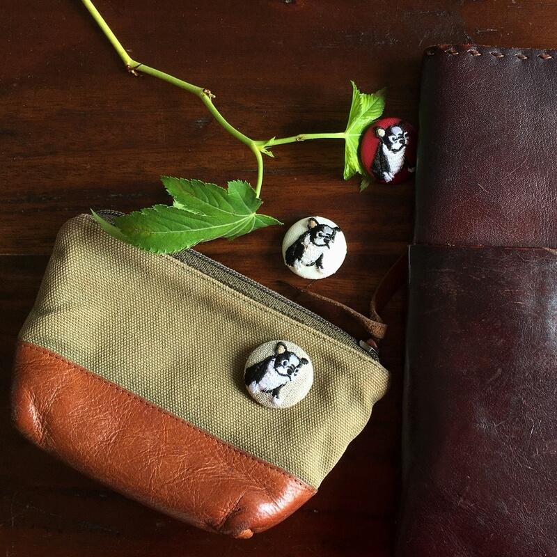 フレンチブルドック29刺繍ボタンポーチ