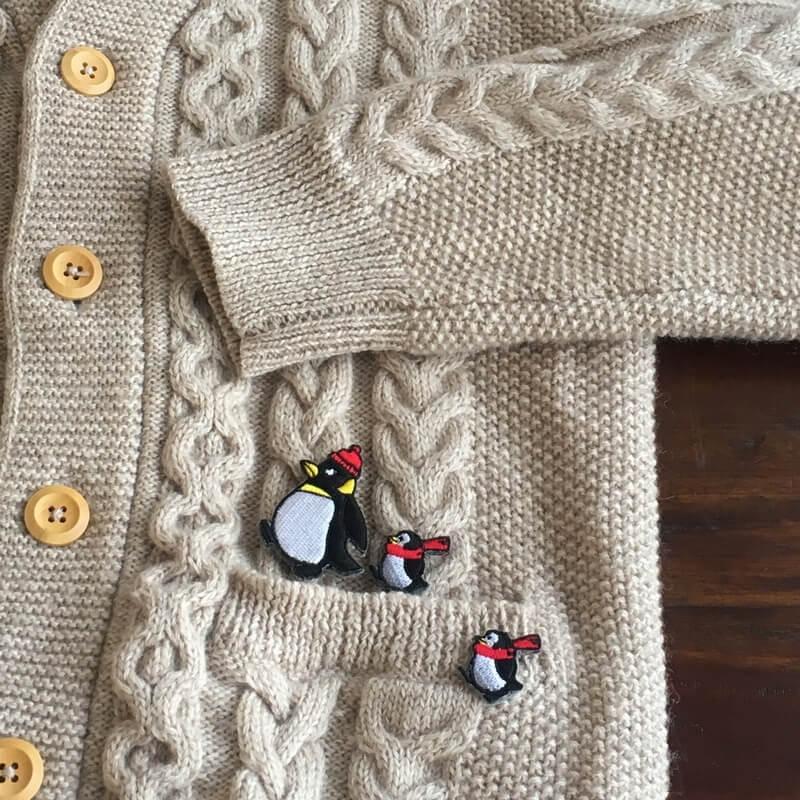 刺繍ワッペン/ペンギンニット帽ニットカーディ