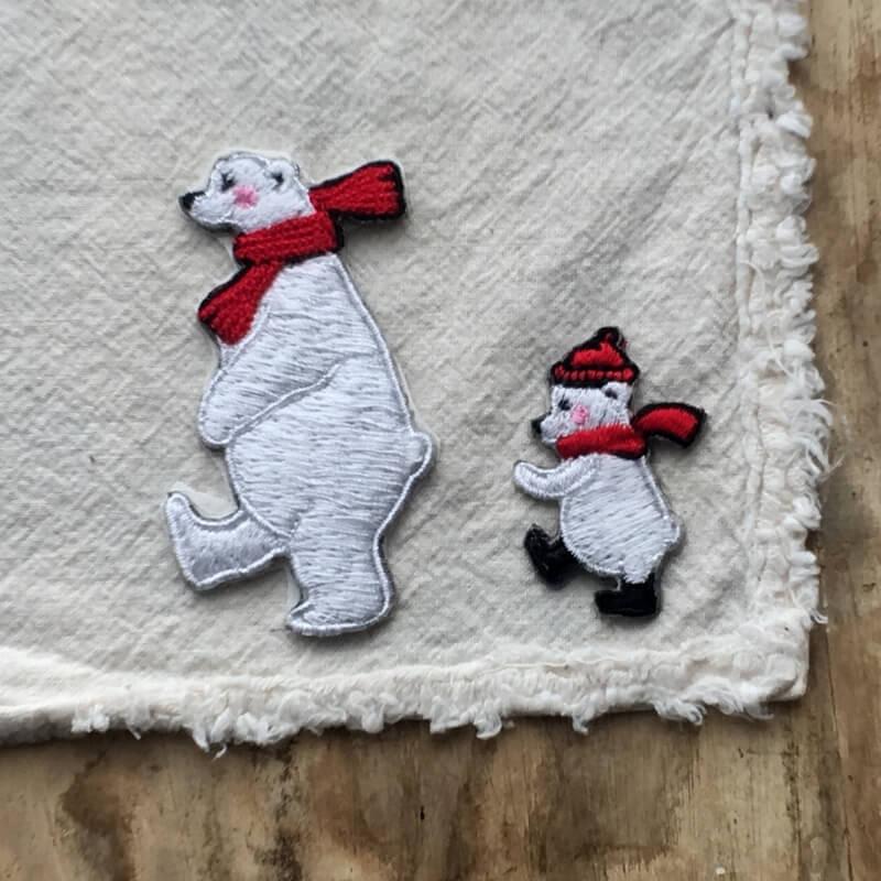 刺繍ワッペン/白熊マフラー2P