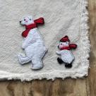 白クマの行進親子刺繍ワッペン/親子ハンカチへ