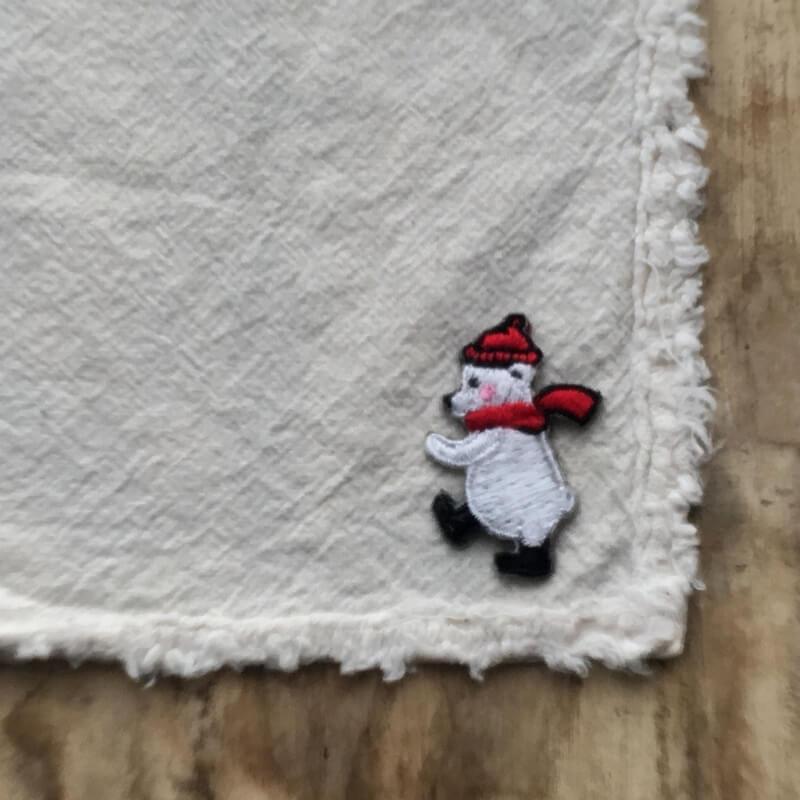刺繍ワッペン/白熊マフラー1P