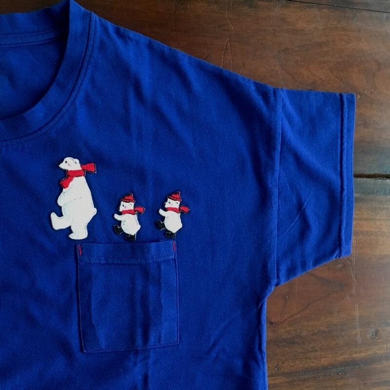 刺繍ワッペン/白熊マフラーTシャツ