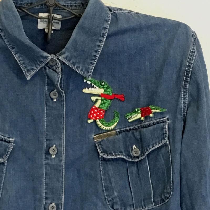 ワニ親子行進刺繍ステッカーワッペン/水玉パンツシャツアップ