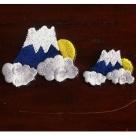 富士山月夜ステッカー刺繍ワッペン-大小