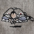 おじぎ/浮世絵[葛飾北斎]刺繍図案デザイン