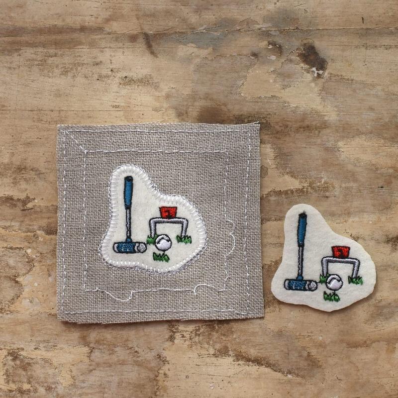 ゲートボール刺繍2枚