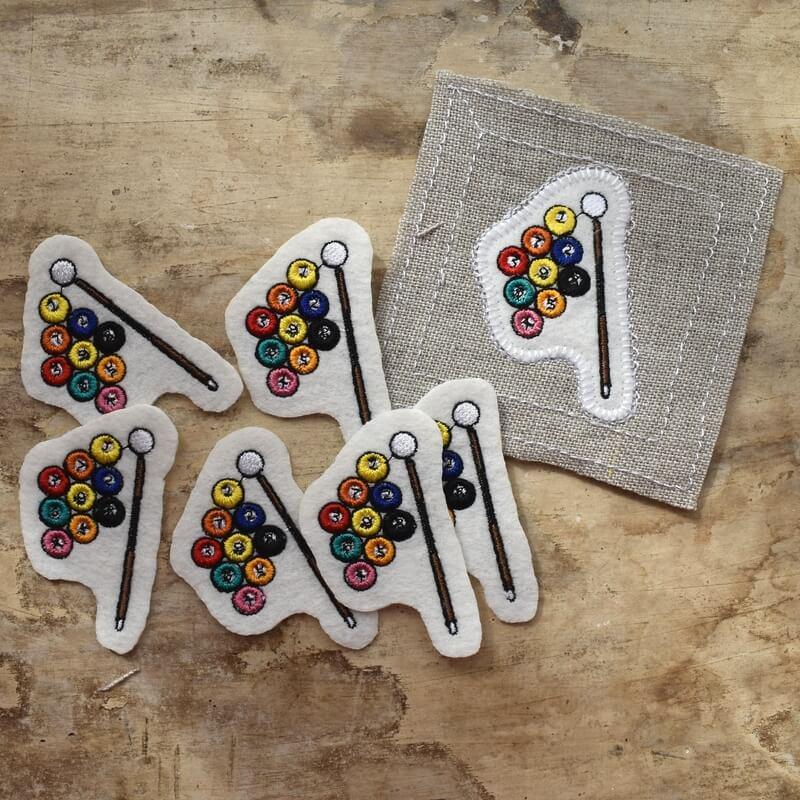 ビリヤード刺繍サンプル