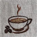 珈琲カップと珈琲豆[食事・飲物]刺繍図案デザイン