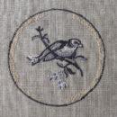 アンティークプレート絵皿[小鳥]刺繍図案