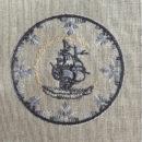 アンティークプレート絵皿[舟]刺繍図案