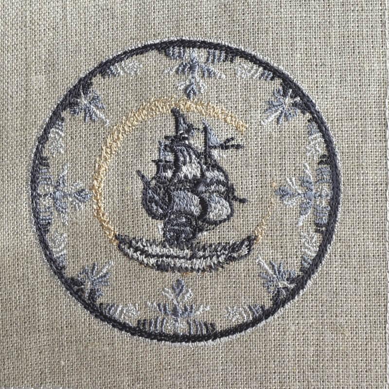 プレート舟刺繍イメージ