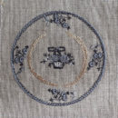 アンティークプレート絵皿[花かご]刺繍図案