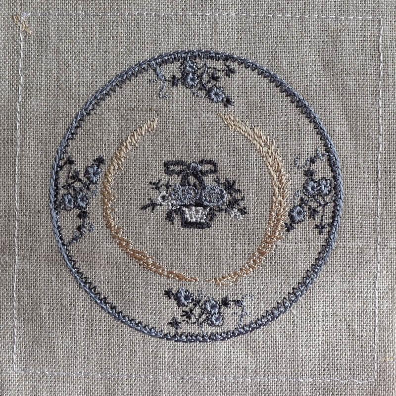プレート花かご刺繍ステッチ