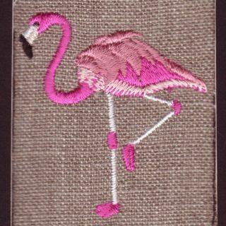 ピンクフラミンゴ刺繍図案スキャンサンプル