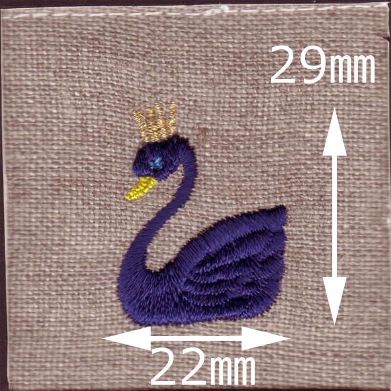 王冠スワン[白鳥]刺繍図案デザインのサイズ表記