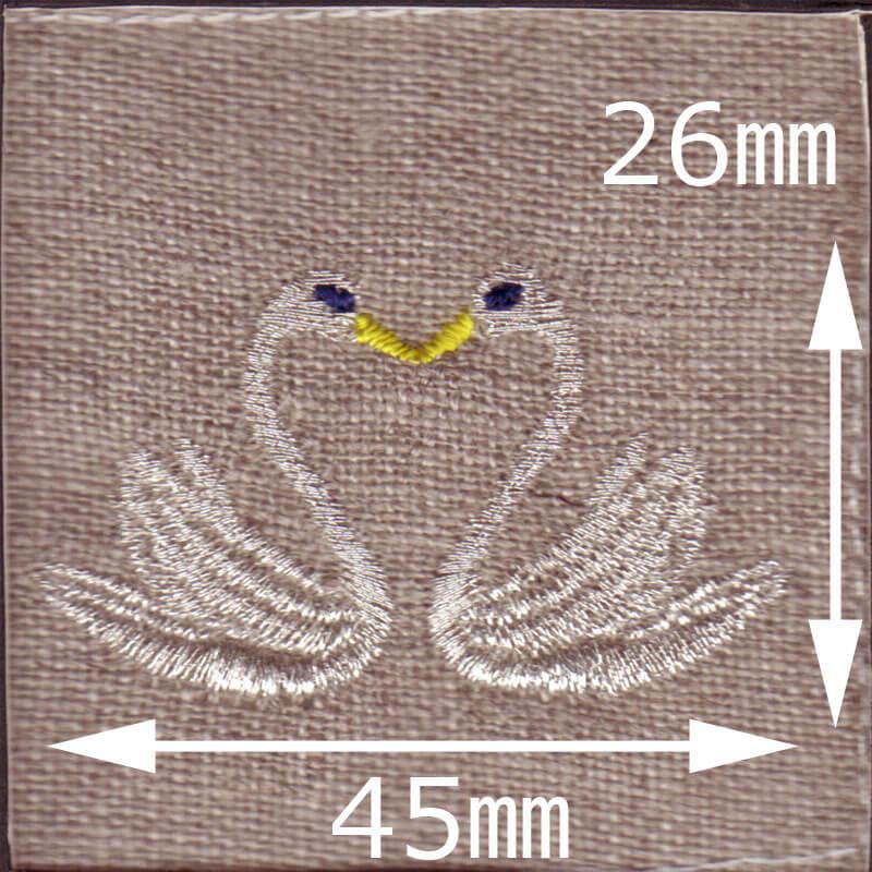 スワンハート[白鳥]刺繍図案デザインのサイズ表記