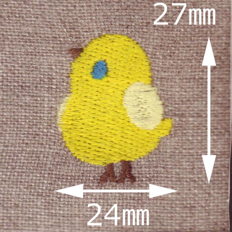 ひよこ[ピヨピヨ]刺繍図案デザインのサイズ表記