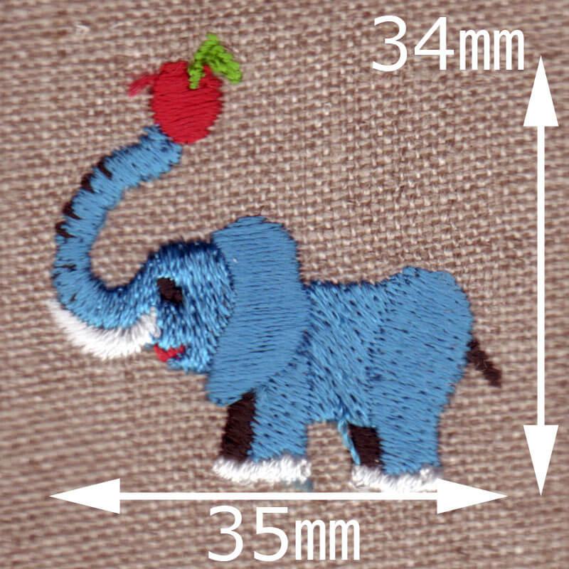 リンゴとゾウさん[動物]刺繍図案デザインのサイズ表記
