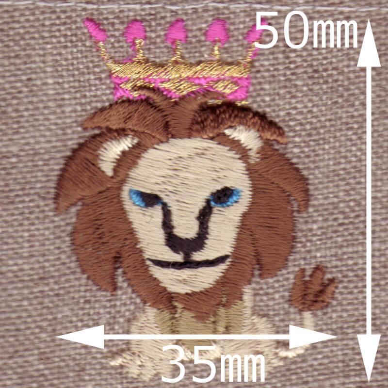 ライオンキング[動物]刺繍図案デザインのサイズ表記