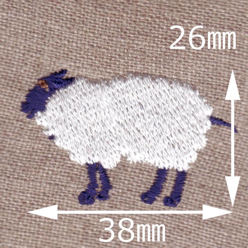 メリーさんの羊[動物]刺繍図案デザインのサイズ表記