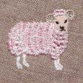 金羊毛のピンク羊[動物]刺繍図案デザイン
