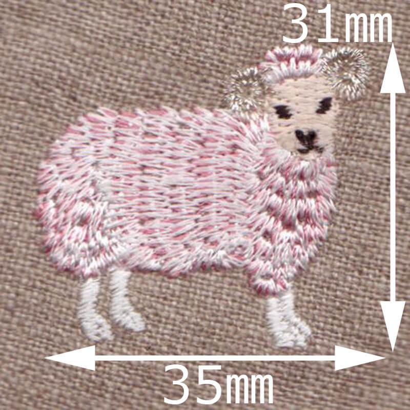金羊毛のひつじSHEEP[動物]刺繍図案デザインのサイズ表記:ピンク色