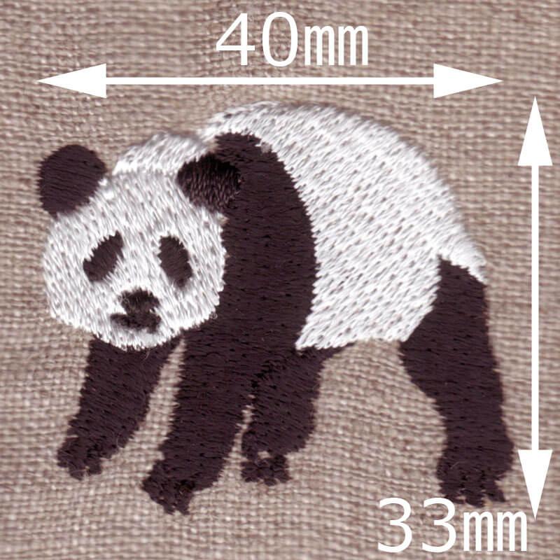 起きパンダ[動物]刺繍図案デザインのサイズ表記