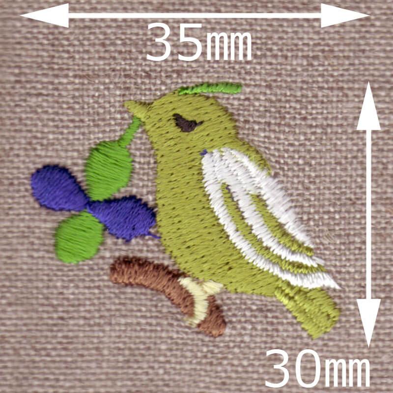 クローバーバード[幸運の鳥]刺繍図案デザインのサイズ表記