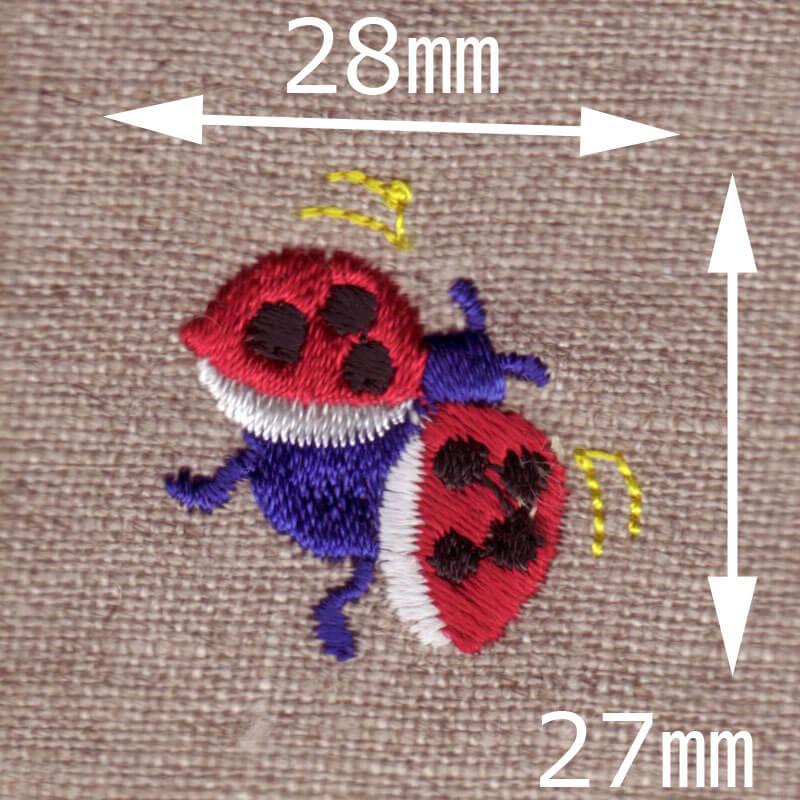 飛ぶてんとう虫[幸せを運ぶ虫]刺繍図案デザインのサイズ表記