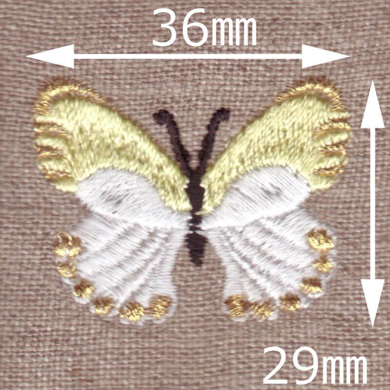 モンシロチョウ[蝶々]刺繍図案デザインのサイズ表記