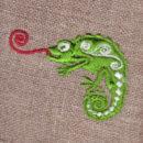 カメレオン[舌ぐるぐる]刺繍図案デザイン