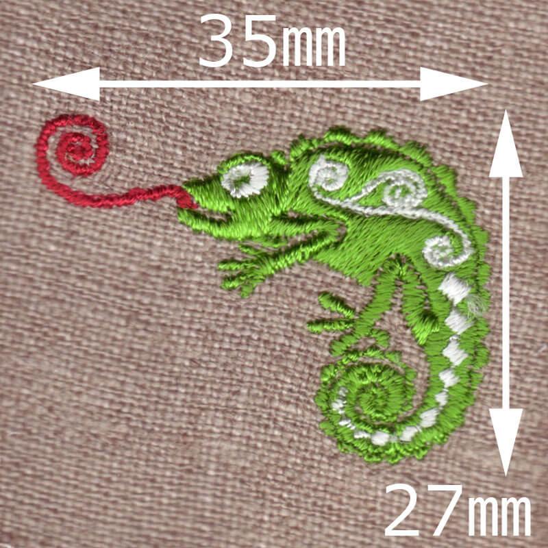 カメレオン[舌ぐるぐる]刺繍図案デザインのサイズ表記