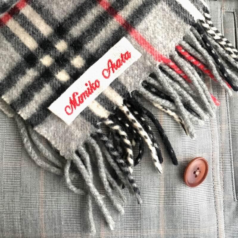 麻混:刺繍ネームタグabcマフラー