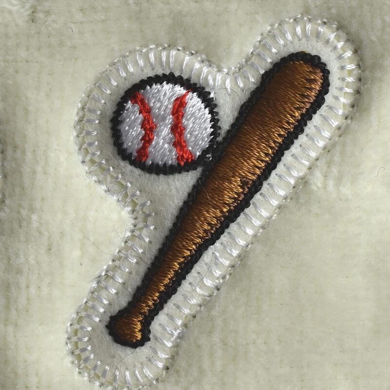野球ボールバット刺繍図案ステッカータオル