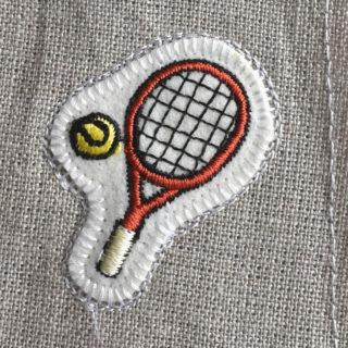 テニス刺繍図案ステッカー麻生地