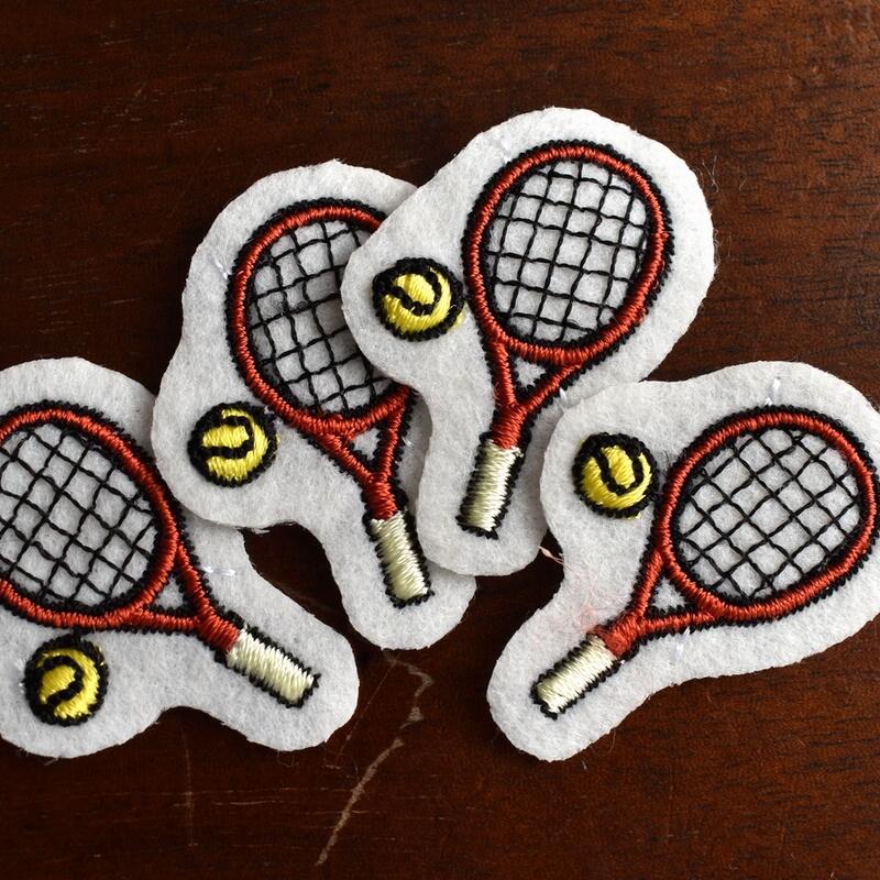 テニス刺繍図案ステッカー4本ラケット
