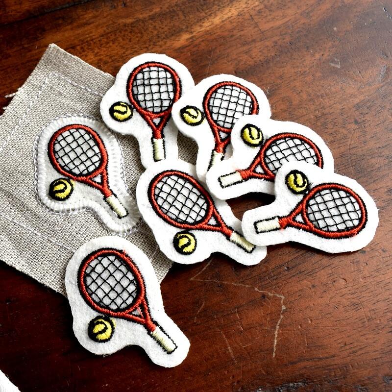 テニス刺繍図案ステッカースマッシュ風