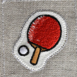 卓球刺繍図案ステッカー麻生地