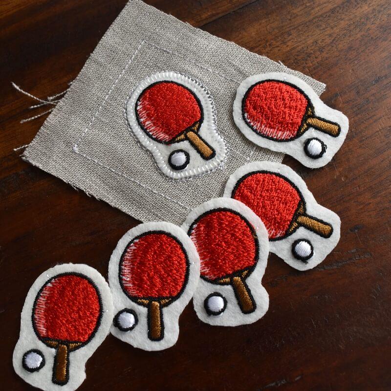 卓球刺繍図案ステッカー麻とラケット