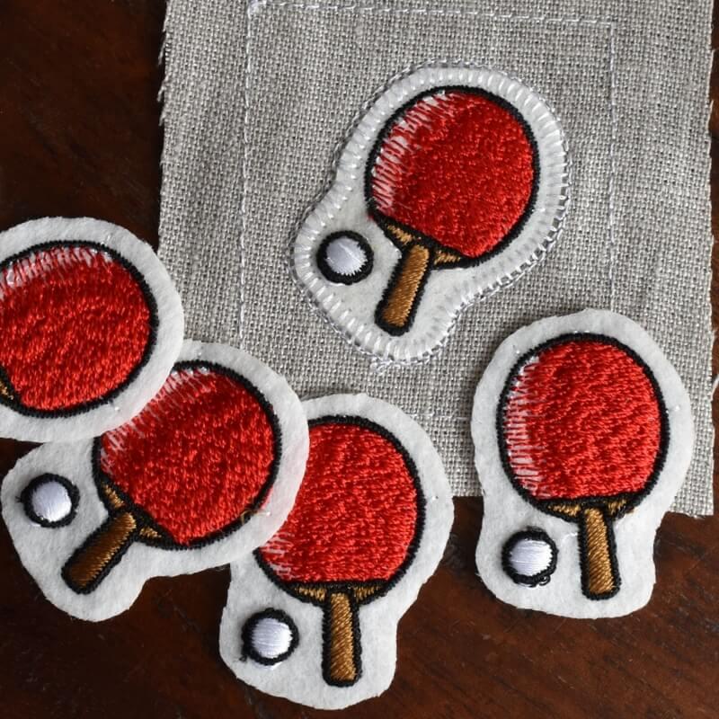 卓球刺繍図案ステッカー見本