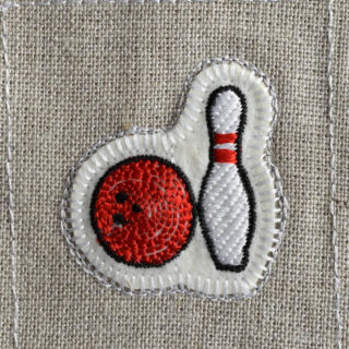ボウリング刺繍図案ステッカー麻