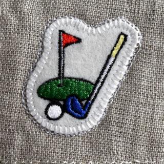 ゴルフ刺繍図案ステッカー麻生地