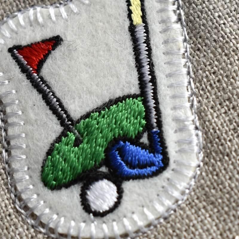 ゴルフ刺繍図案ステッカーアップ