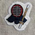 剣道刺繍図案ステッカー麻